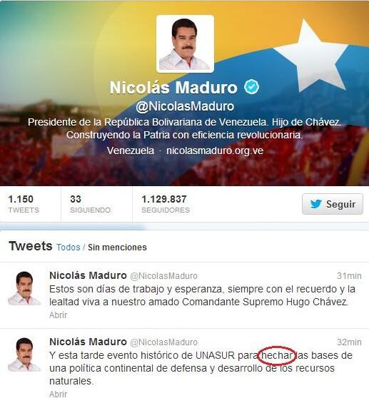 Maduro error en twitter completo