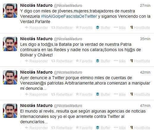 Tuits de Maduro sobre Twitter