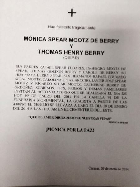 Funeral de Monica Spear y Thomas Berry