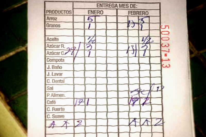 Libreta de racionamiento cuba