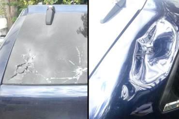 ¡RÉGIMEN MALANDRO! Así quedó el carro de María Corina tras BRUTAL ataque de colectivos