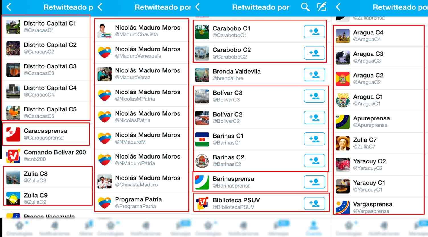 retweet cuentas Nicolas Maduro