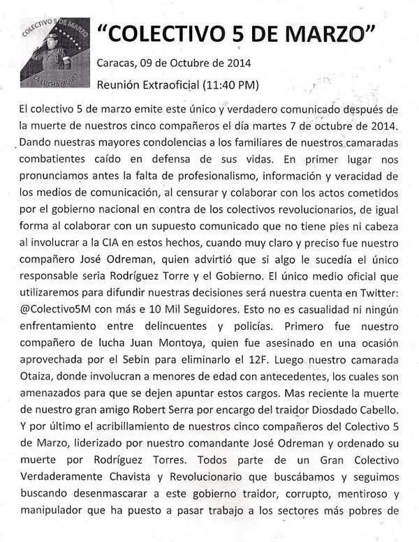 Comunicado del Colectivo 5 de Marco Colectivo5M  Venezuela (2)