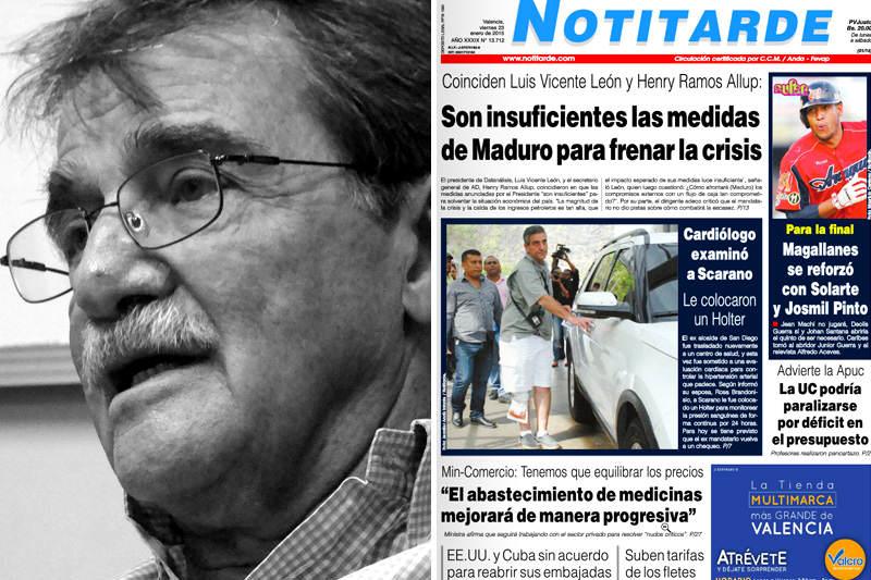 Teodoro Petkoff Diario Tal Cual Digital cierra Diario Notitarde es vendido