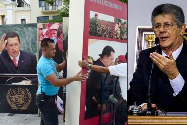 """¡LA LOCURA NO TIENE LÍMITES! Proponen cárcel por """"ultraje"""" de cuadros de Chávez y Bolívar"""