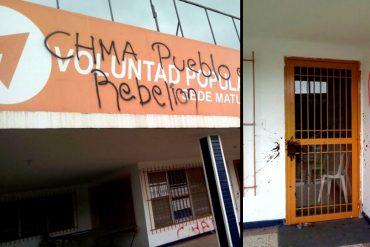 ¡SALVAJES DESATADOS! Lanzaron excremento a la sede de Voluntad Popular en Maturín