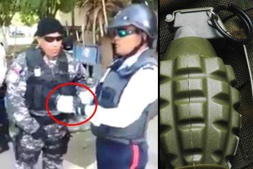 ¡ASÍ DE INCREÍBLE! Atracan a un policía y le dejan una granada amarrada en sus manos (+Video)