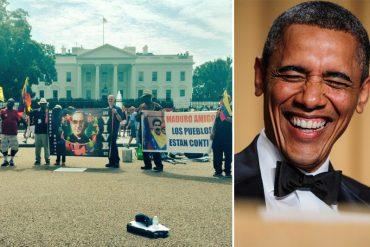 ¡AUNQUE USTED NO LO CREA! 10 pelagatos protestan en la Casa Blanca en apoyo a Nicolás Maduro