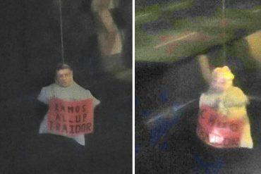¡LOS TILDAN DE TRAIDORES! Colgaron muñecos ahorcados de líderes de la MUD en Caracas (+Fotos)