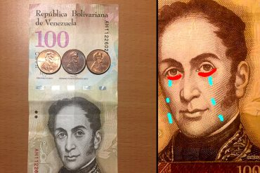 ¡PA' LLORAR! La imagen que muestra la destrucción económica: 100 bolívares equivalen a 3 centavos