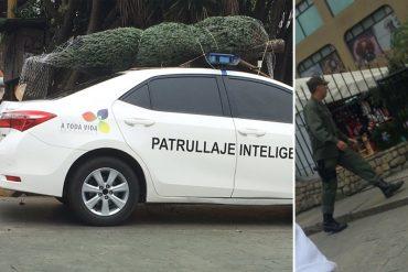 ¡EL COLMO! La GNB compra su arbolito de Navidad y lo traslada en patrulla inteligente (+Fotos)