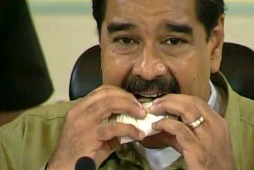 ¡Y EL PUEBLO CON HAMBRE! A Maduro lo pillaron comiéndose una bala fría en plena cadena (+Video)