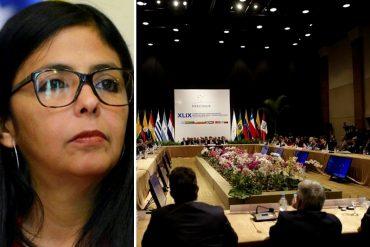 ¡PATADAS DE AHOGADO! Revelan la razón oculta por la que Delcy Rodríguez habría entregado presidencia de Mercosur