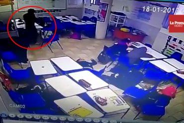 ¡VIDEO FUERTE! El momento exacto en que un alumno le dispara a su maestra y compañeros
