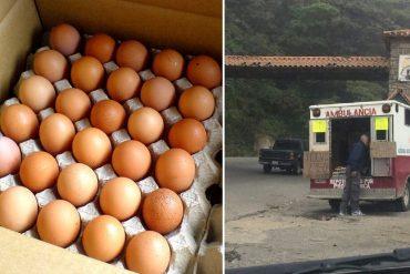 ¡SOLO EN VENEZUELA! En El Junquito usan una ambulancia para vender huevos (+Foto)