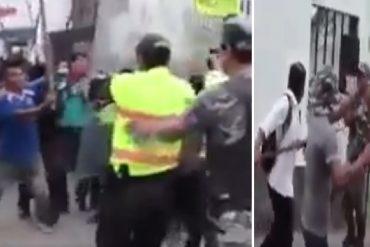 ¡A PALAZO LIMPIO! Indígenas de Ecuador hicieron correr a policías y guardias que intentaban alejarlos del CNE (+Video)