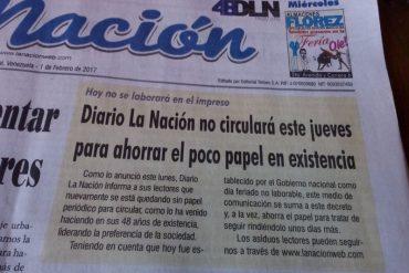 ¡SÉPANLO! Diario La Nación de Táchira no circuló este jueves por falta de papel