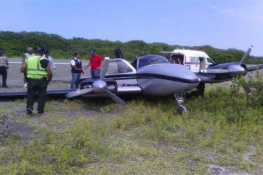 ¡QUÉ PELIGRO! Una avioneta en Los Roques se salió de la pista por fallas de aterrizaje