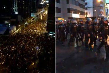 ¡DE NOCHE Y RESTEADOS!  Multitudinarias protestas frente al CNE de Ecuador por denuncias de fraude (+Video)