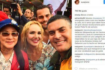 ¡LAMEPISOS TOTAL! A Susej Vera la reventaron por sus fotos con líderes chavistas en la marcha contra el imperio (+Imágenes)