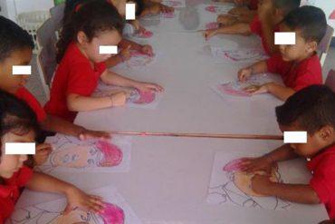 ¡DOCTRINA ROJITA! Niños son obligados a colorear dibujos de Chávez (entre otras actividades)