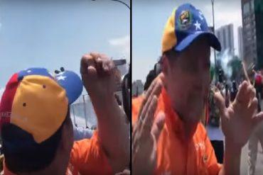 ¡IMPRESIONANTE! A Luis Florido casi le pegan una lacrimógena en la cabeza (+Video +Mensaje al mundo)
