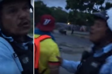 ¡TOTAL INDEFENSIÓN! La advertencia de policías a manifestantes por presencia de colectivos (+Video)