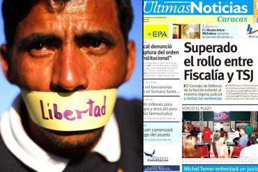 ¡VENDIDOS! La bochornosa portada de Últimas Noticias sobre la ruptura del orden constitucional