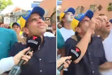 ¡INEXCUSABLE AGRESIÓN! El momento en el que Capriles fue sorprendido por una lacrimógena aérea (+Video)