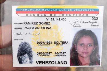 ¡QUÉ DOLOR! La foto que publicó Paola Ramírez antes de salir a la marcha junto a una bandera de Venezuela