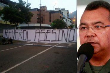 ¡CLARO MENSAJE! Con un pancartazo vecinos de Chacao se las cantan a Néstor Reverol (+Fotos)