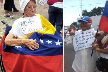 ¡SIN EXCUSAS! Abuelas de hasta 98 años y en silla de ruedas salieron en protesta contra el régimen