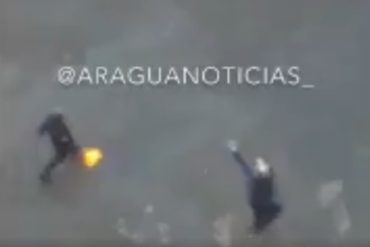 ¡VEA! Efectivos de PoliAragua pillados lanzando molotovs contra manifestantes en Maracay (+Video)
