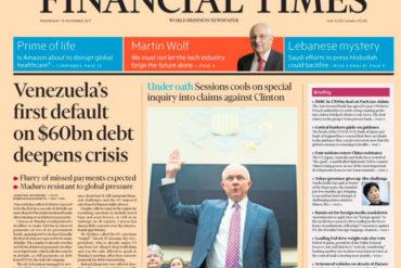 ¡RAYA MUNDIAL! Portada del Financial Times de este miércoles anuncia el default de Venezuela