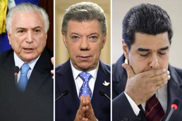 ¡PREOCUPADOS! Temer y Santos se comprometen a trabajar por la democracia en Venezuela