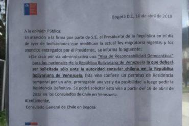 ¡SEPA! Venezolanos en Colombia deberán gestionar visas chilenas en Caracas o Puerto Ordaz (+Aviso)