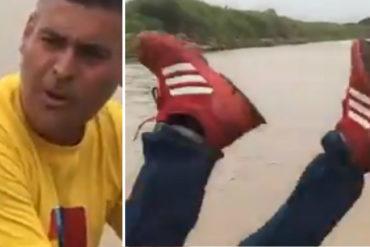 """¡PATAS PA' ARRIBA! Messuti casi se cae al río Apure mientras hablaba las """"maravillas"""" de Somos Venezuela (+Video)"""