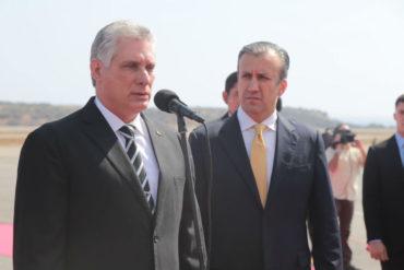 ¡MÍRENLO, PUES! Díaz-Canel llegó al país en una colita de un avión venezolano (+Foto +Video)