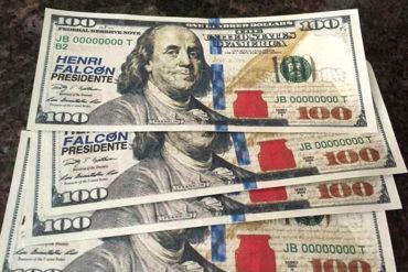 """¡POR FAVOR! Los dólares falsos que reparte Henri Falcón durante su campaña (Fotos + video de los """"verdes"""")"""