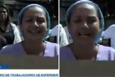 """¡AGARREN, PUES! Enfermera se la lanzó al gobierno: """"No somos guarimberos pero ya basta, queremos sueldos dignos"""" (+Video)"""
