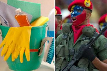 ¡DEPLORABLE IMAGEN! Así reciben los militares venezolanos sus implementos de limpieza (+Foto de la humillación)
