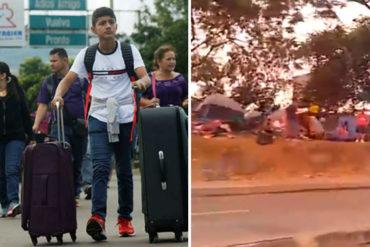 ¡DESESPERADOS! Venezolanos que huyen de la crisis duermen en carpas en afueras de un terminal en Colombia (+Video)