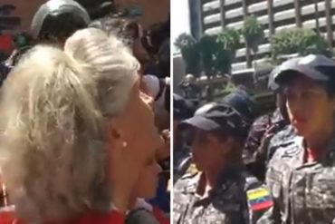 ¡SIN MIEDO! Esta doña le cantó sus verdades a la PNB en la marcha con destino a Miraflores (+Video)