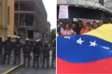 ¡ATENTOS! Piquete antimotín de la GNB bloquea protesta de trabajadores y jubilados que exigen salarios justos al gobierno (+Videos)