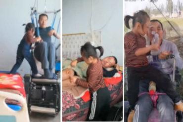 ¡MUESTRA DE AMOR!  Las conmovedoras imágenes de la niña de 6 años que cuida de su padre parapléjico (+Video)