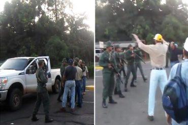 ¡ÚLTIMA HORA! Trabajadores de Ferrominera Orinoco trancaron las calles y la GNB los correteó a plomo (+Fotos y Video)