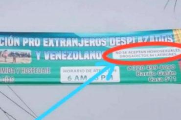 """¡VEA! Retiran polémica pancarta en Bucaramanga que ofrecía refugio a venezolanos: """"No se aceptan homosexuales"""""""