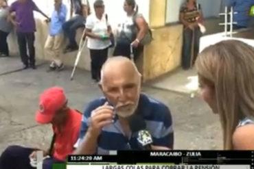 """¡QUÉ TRISTEZA! """"Me desmayé, me dieron agua y me dejaron aquí sentado"""", lo que sufre un pensionado en el Zulia"""