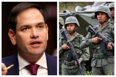 ¡CONTUNDENTE! El mensaje que Marco Rubio le envió a la Fanb: Guaidó es el presidente interino (+Videos)