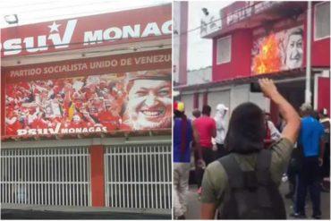 ¡SE CANSARON! Manifestantes incendiaron una de las sedes del PSUV en Monagas (+Video+represión)